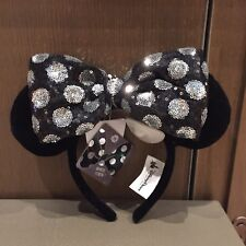 Shanghai Disney Minnie Mouse Ear White and Black with Removable Bow Headband NEW