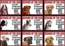 Beware Of The Dog Sign Gate in 3 Seconds Various Breeds Set D