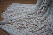 150x50cm tissu dentelle fleurie blanc cassé