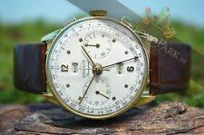 Mechanisch-(Handaufzug) Armbanduhren aus echtem Leder mit Chronograph