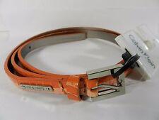 Calvin Klein Orange Peach Python Embossed Leather Skinny Belt , L