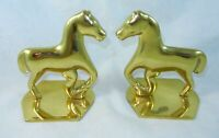 Virginia Metalcrafters Brass Pair of Primitive Horse Equestrian Bookends