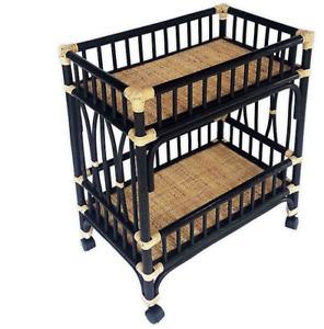 Global Caravan™ Marari Rattan Bar Cart in Black