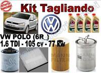 KIT TAGLIANDO OLIO CASTROL EDGE 5W30 + FILTRI VW POLO (6R_) 1.6 TDI 77 KW 105 CV