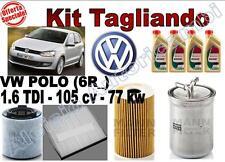KIT TAGLIANDO OLIO CASTROL EDGE 5W30 + FILTRI VW POLO (6R_) 1.6 TDI 77 KW 105CV*