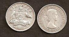 AUSTRALIA 1962 QUEEN ELIZABETH II SILVER SIXPENCE 6d COIN