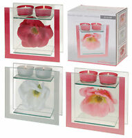 Beautiful Double Glass Wild Rose Tea Light Holder Wedding Table or Party Table