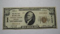 $10 1929 Little Falls New York NY National Currency Bank Note Bill! #2406 FINE!