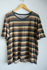 Mens Dries Van Noten Short Sleeve Navy Brown & Beige Striped T-shirt sz L