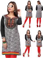 Women Fashion Embroidery Indian Short Kurti Tunic Kurta Top Shirt Dress  51E3