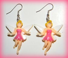 "#16097C ""TINKERBELL"" Pink Disney 3-D Amazing Dangle Charm Earrings"