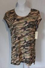 NEW Womens Knit Shirt Size Medium Camouflage Ladies Hi-Low Top Cap Sleeves