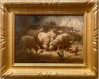 Sheep In Sheepfold CHARLES H. CLAIR FRENCH LISTED oil/cv 22K Gold Leaf Frame