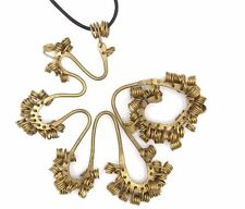 "BIG 4"" Vtg Modernist BIOMORPHIC Abstract BRASS Gold Tone Pendant Necklace SIGNED"