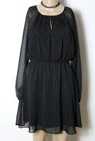 MANGO Kleid Gr. XS/34-36 schwarz kurz/mini Polkadot Pünktchen Chiffon Kleid