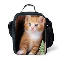 Lovely Cat Print Lunch Bags Insulated Cooler Shoulder Outdoor School Bento Totes