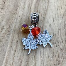 Leaves Fall Autumn Charm Charms European Bead fit Bracelet or Necklace
