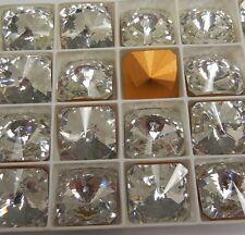 4 Swarovski Square Rivoli Rhinestones,18mm Crystal/Gold Foiled #4650