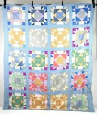Vtg Patchwork Bear Paw Feedsack Style Quilt Topper Blanket Cover Twin 62 x 78