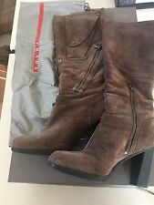 PRADA suede brown riding high tall zips pockets details boots 38 Made in Italy