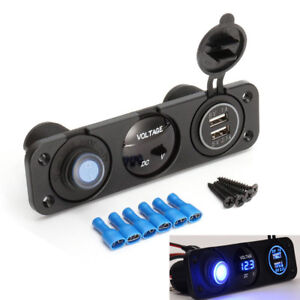 NEW 12V Dual USB Car Charger Panel Voltmeter LED Rocker Switch Cigarette Lighter