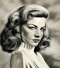 "Gary Adelman, ""Lauren Bacall"", 18.75x22, Pastel/Charcoal, Hollywood, Original"