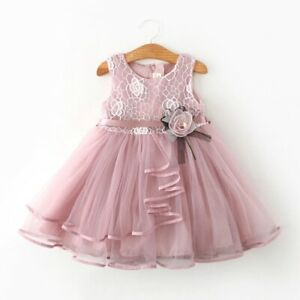 Summer Flower Dress Girls Clothes Tulle Lace Cute Party Clothing Birthday Dress