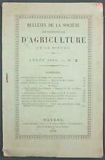 BULLETIN DE LA SOCIETE D'AGRICULTURE NIEVRE 1888 N°2 BETAIL BOUCHERIE NIVERNAIS
