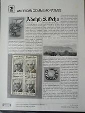#70 13c Adolph S. Ochs Publisher USPS Commemorative Stamp Panel #1700