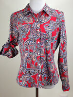 JONES NEW YORK Roll-up L/S Lightweight PAISLEY Cotton Blouse (Pocket)- M, Red