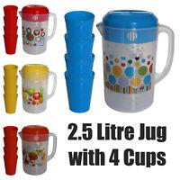 2.5 Litre Plastic Fridge Jug Pitcher with Lid, 4 Cups set Party Set Water Juice
