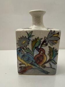 Pottery Barn Vase Birds Deer Bambi Stoneware Crackled Appearance Home Decor