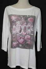 NWT Ann Taylor Loft White J'adore (I Adore You) Boatneck 3/4 Sleeve Shirt $34 XL