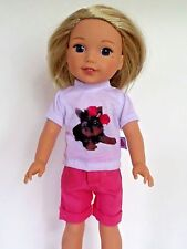 """Yorkie Dog Short Set Fits American Girl 14.5"""" Wellie Wisher Doll Clothes"""