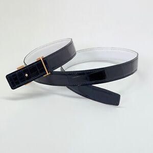 Handmade 24mm Midnight Blue Reversible Crocodile belt Size 85 Free Shipping