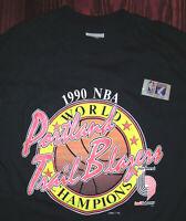 T Shirt Vintage 90s Portland Trailblazers NBA Championship 1990 Single Stitch L