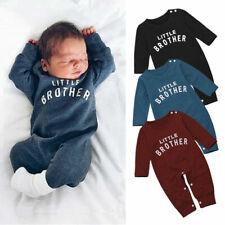 UK Infant Baby Boy Little Brother Romper Jumpsuit Bodysuit Winter Clothes Outfit