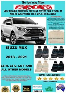 Isuzu MU-X 2013-2021 Genuine Sheepskin Car Seat Covers Pair 22MM TC Air Bag Safe
