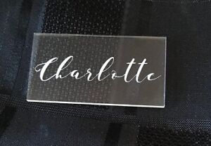 Personalised Table Place Name Settings in Clear Acrylic in Paduka Font