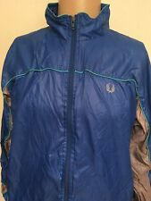 VTG 80s FRED PERRY SPORTSWEAR NYLON TRACK JACKET Electric Blue MINT PIPING L 80s