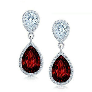 Ladies Silver Rhinestone Crystal Dangle Earrings Wedding Prom Pageant Gifts