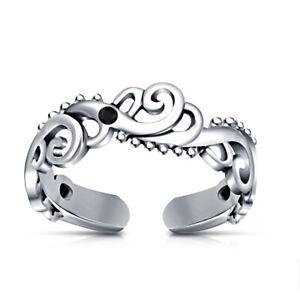 10k White Gold Fn Black Diamond Women's Wave Fashion Adjutable Toe Ring
