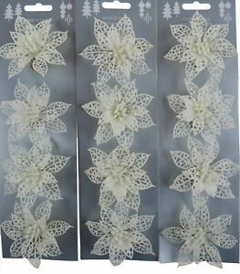 Holly Clip On Christmas Flower Craft Tree Decorations - WHITE (Set of 12)