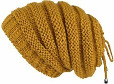 0f45ac405ec Lilax Cable Knit Slouchy Chunky Stripe Oversized Warm Winter Beanie Hat  Mustard