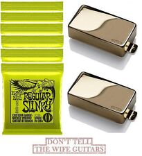 EMG 81 + 85 GOLD ACTIVE HUMBUCKER SET SHORT SHAFT POTS   ( 6 ERNIE BALL #2221 )