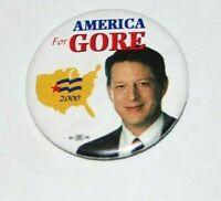 2000 AL GORE campaign pin pinback button political presidential election bush