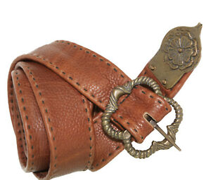 "MEDIEVAL KNIGHT CRUSADER VIKING Brown Leather Handmade UNISEX BELT 57"" Long O/S"