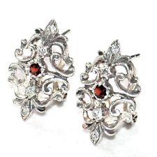 Boucles d'oreilles anciennes argent massif 925 grenat zirconium bijou earring