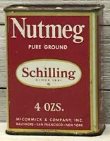 Vintage Schilling 4 oz Pure Ground Nutmeg Tin Spice Can