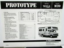 1981 Tioga By Fleetwood Model M20 Prototype RV Camper Motor Home Data Sheet